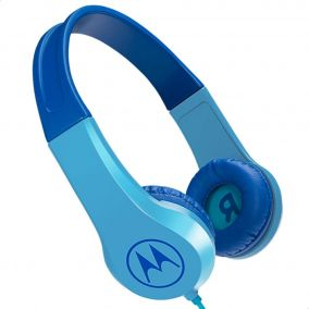 MOTOROLA Squads 200 Kids Wired Headphones with Anti-Allergic Cushion and In-Line Microphone - Blue